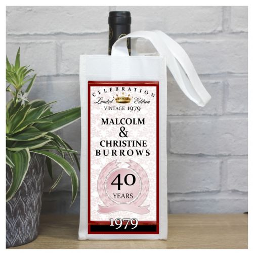 Personalised 40th Ruby Wedding Anniversary Bottle Bag N34